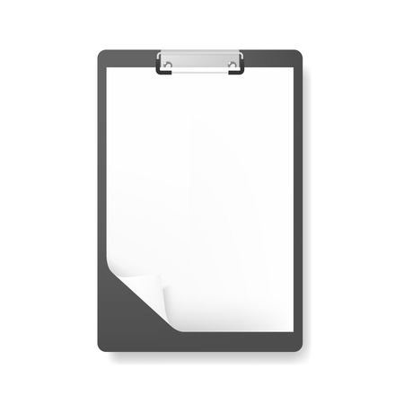 document: Realistic clipboard folder with blank white sheet of paper with curled corner, mockup Illustration