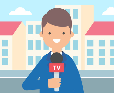 live work city: TV reporter, journalist vector illustration, live news