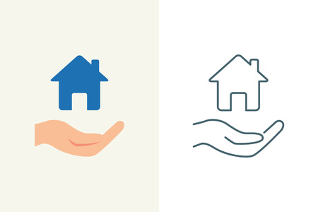 protection hands: Property insurance vector icon, flat and line style