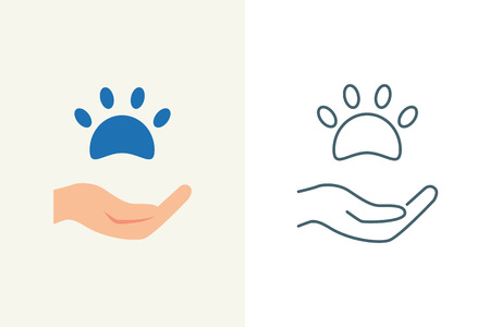 hands holding sign: Donations for pets and animals vector illustration, flat and line style