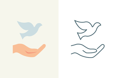 harmony nature: Vector illustration of a hand holding the dove, flat and line style Illustration