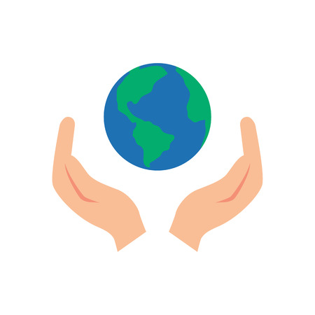 hand sign: Vector illustration of two hands holding the Earth Illustration