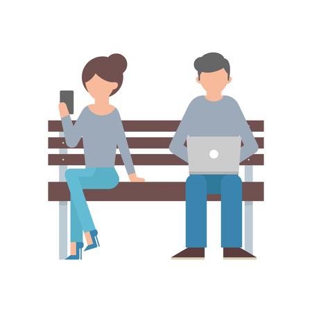 sentarse: ilustración vectorial de una mujer con el teléfono inteligente y un hombre con el portátil sentados en el banco