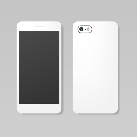 case: Blank realistic white smartphone mockup, front and back view