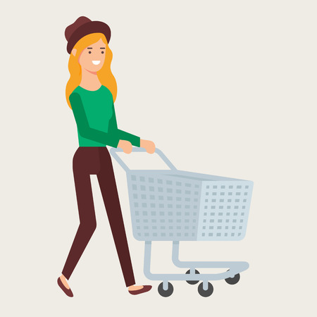 Vector illustration of a woman with an empty shopping cart Vectores