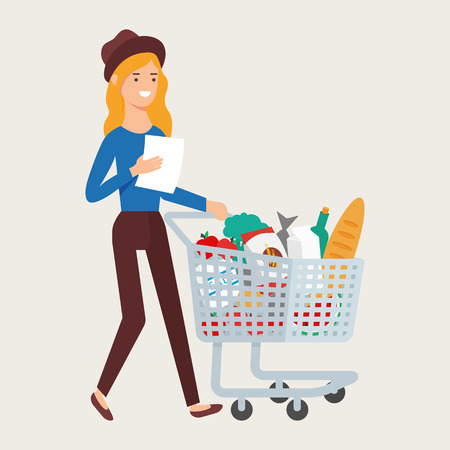 Vector illustration of a woman with a shopping cart full of food products. Shopping concept
