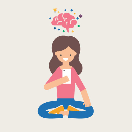 teenagers learning: Vector illustration of a girl with smartphone using brain training app