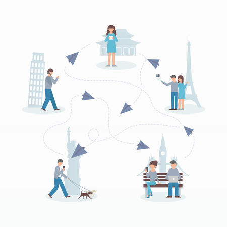 Social network concept. Flat style vector illustration