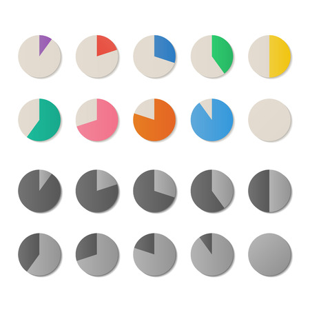 percent sign: Set of color pie circle diagrams, vector icons Illustration