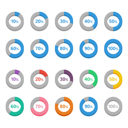 Set of color circle diagrams with percentages Vectores