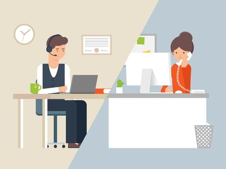 Illustrazione vettoriale operatore di call center e cliente, servizio di supporto