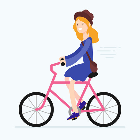 student travel: Vector illustration of a woman riding bicycle