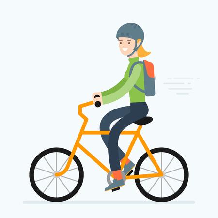 Ilustracji wektorowych kobiety jazda na rowerze. Wycieczka samochodem