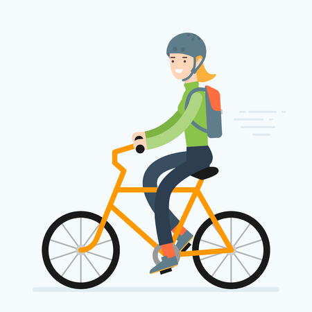 Vector illustration of a woman riding bicycle. Road trip