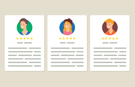User reviews and feedback vector illustration, flat style
