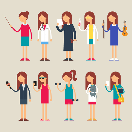 Set of vector female characters, occupations, flat style Illustration