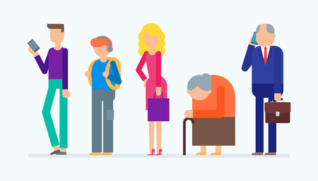 older: set of people: young man, teenager, young woman, older woman, businessman
