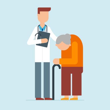 older: illustration of doctor and older woman Illustration