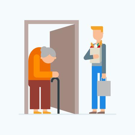 older: Social support for older people - food and goods delivery.