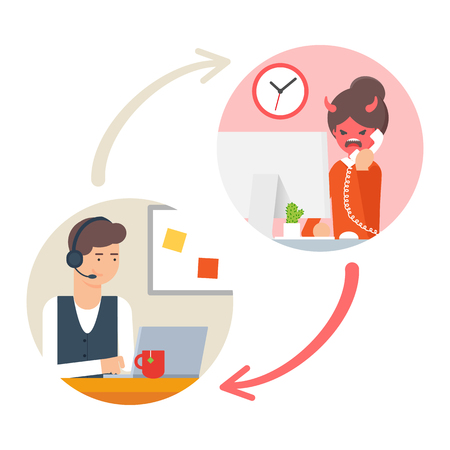 computer operator: Customer support service. Vector illustration of call centre operator and angry customer