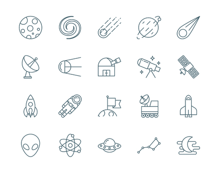 planetoid: Set of astronomy, science vector icons line style Illustration