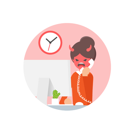 call centre girl: Vector illustration of an angry woman talking on the phone Illustration