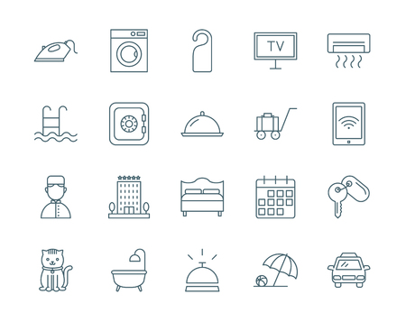 conjunto de iconos del vector del hotel, estilo de línea moderna