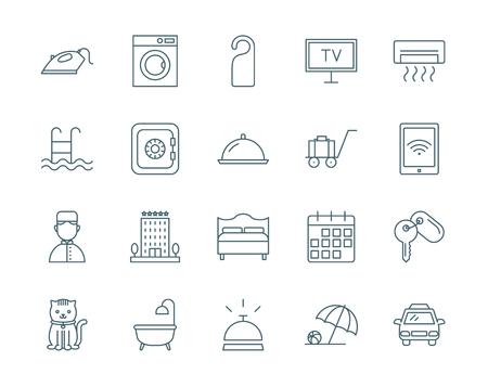 caja fuerte: conjunto de iconos del vector del hotel, estilo de línea moderna
