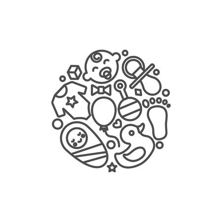 babyhood: Babyhood abstract vector illustration, modern line style Illustration