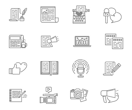 copywriting: Copywriting and writing set of vector icons Illustration