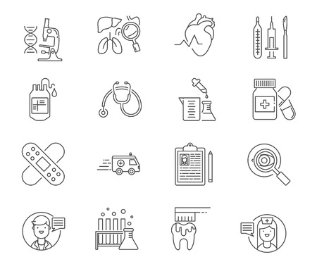 healthcare and medicine: Healthcare and medicine set of vector icons Illustration