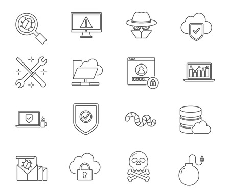 computer viruses: Computer viruses and network set of vector icons