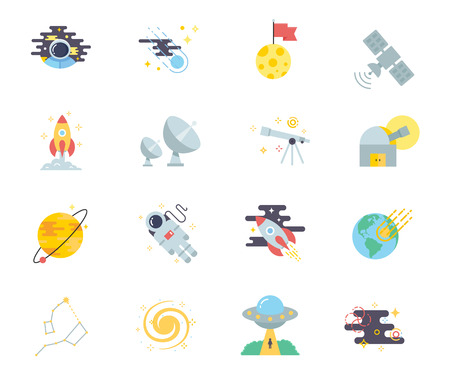 descubridor: Space set of vector icons modern flat style