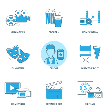 flick: Movie vector icons set modern line style