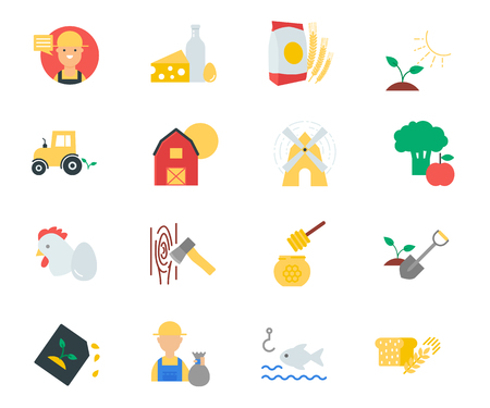 fishing village: Farm set of flat style icons flat style icons
