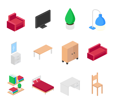 home furniture: Home furniture isometric icons set, vector illustration