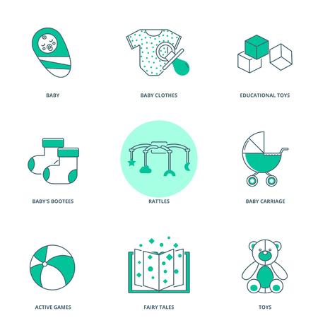 babyhood: Babyhood vector icons set, modern line style