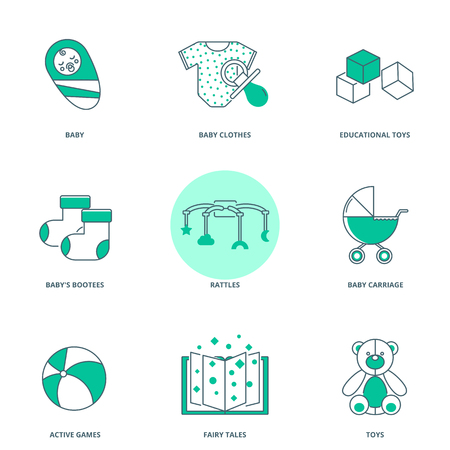 rattles: Babyhood vector icons set, modern line style