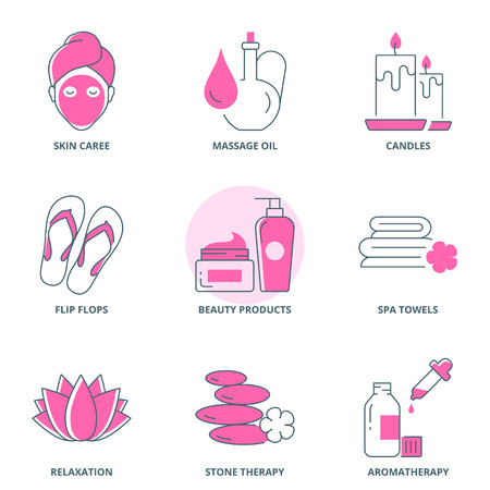 beauty therapist: Spa and beauty icons set Illustration