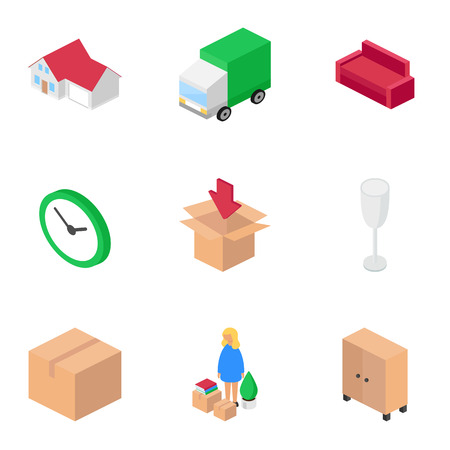 Moving services isometric vector icons set Illustration