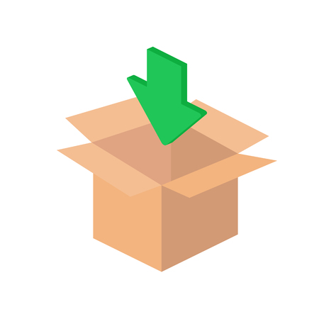 unpacking: Box with green arrow, download isometric icon Illustration