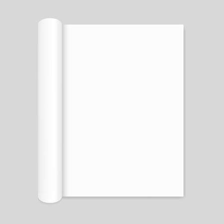 portrait orientation: Blank open magazine mockup with rolled page, portrait orientation Illustration
