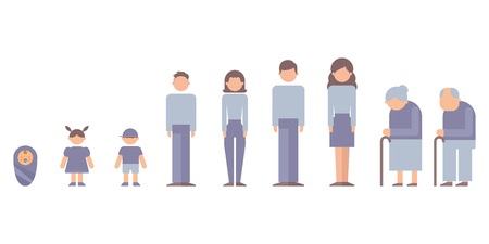 インフォ グラフィックのための人々: 赤ちゃん、子供、ティーンエイ ジャー、成人、高齢者。ベクトル図