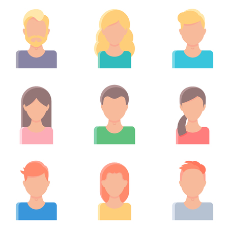 happy business woman: Set of vector avatars for web, flat style