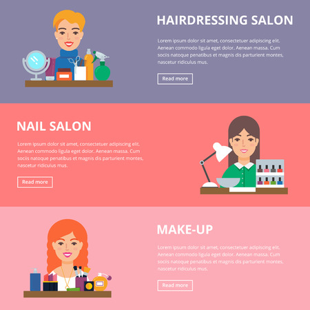 maquillage: Beauty salon services vector web banners, flat style Stock Photo