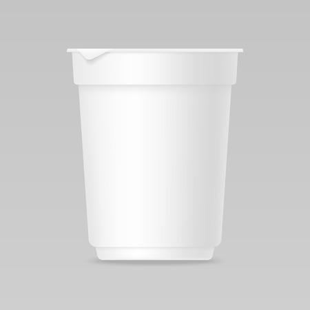 pack ice: Yogurt realistic blank mockup for package design
