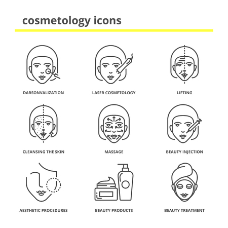 Cosmetology icons set: darsonvalization, laser cosmetology, lifting, cleansing the skin, massage, beauty injections, aesthetic procedures, beauty products and treatment Illustration