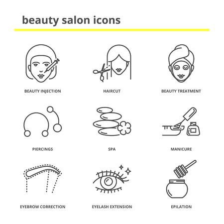 hair mask: Beauty salon icons set: injection, haircut, treatment, piercings, spa, manicure, eyebrow correction, eyelashes extension, epilation