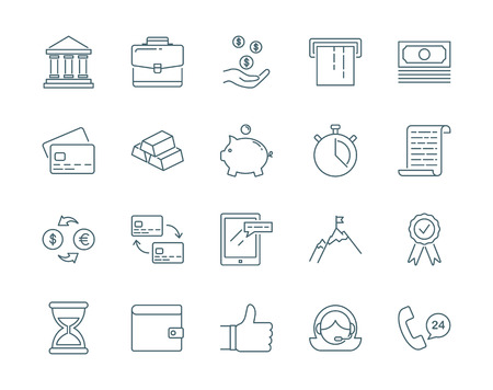 pack of dollars: Banking and finance set of icons