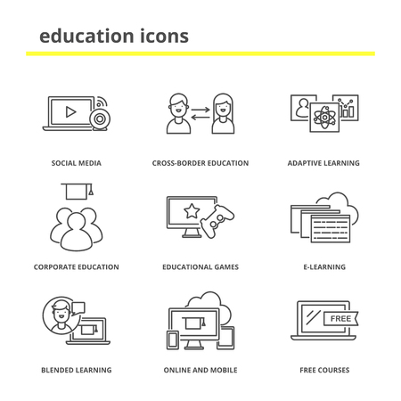 Education icons set: social media, adaptive and blended learning, corporate and cross-border education, educational games, e-learning, online and mobile, free courses Çizim
